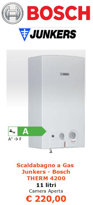 Scaldabagno a Gas junkers bosch therm 4200 11 litri camera aperta