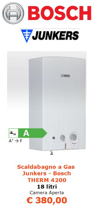 Scaldabagno a Gas junkers bosch therm 4200 18 litri camera aperta