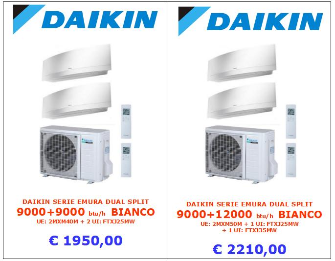 climatizzatore DAIKIN SERIE EMURA BIANCO SILVER DUAL SPLIT 9000 + 9000 btu e 9000 + 12000 btu www.mt-termoidraulica.it a roma
