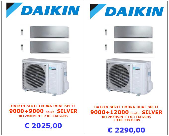 climatizzatore DAIKIN SERIE EMURA DUAL SPLIT 9000 + 9000 btu e 9000 + 12000 btu www.mt-termoidraulica.it a roma