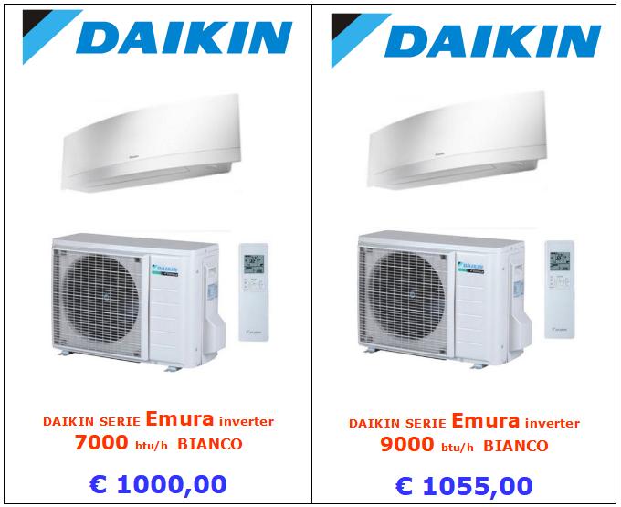 climatizzatore daikin emura bianco 7000 btu e 9000 btu www.mt-termoidraulica.it a roma