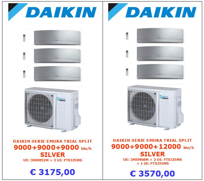 climatizzatore daikin trial split 9000 + 9000 + 9000 btu serie EMURA SILVER www.mt-termoidraulica a roma