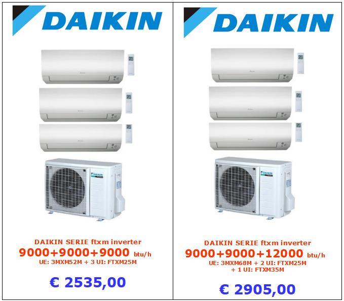 climatizzatore daikin trial split 9000 + 9000 + 9000 btu serie m www.mt-termoidraulica a roma