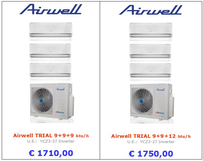 CLIMATIZZATOre Airwell TRIAL 9+9+9 btu Airwell TRIAL 9+9+12 btu www.mt-termoidraulica.it a roma