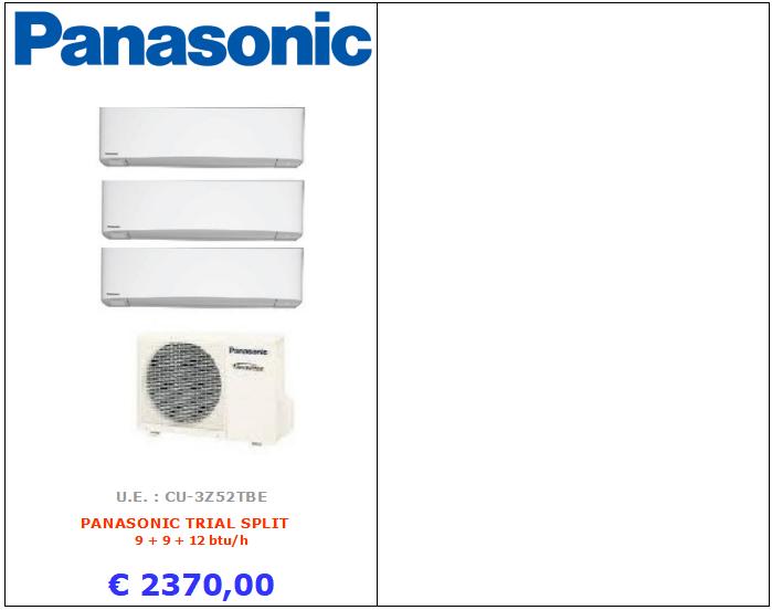 CLIMATIZZATORE PANASONIC TRIAL SPLIT PANASONIC www.mt-termoidraulica.it a roma
