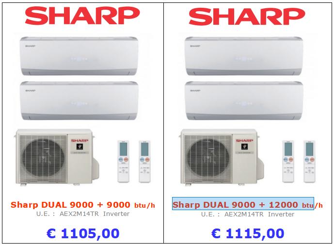 CLIMATIZZATORE Sharp DUAL 9000 + 12000 btu Sharp DUAL 9000 + 9000 btu www.mt-termoidraulica.it a roma