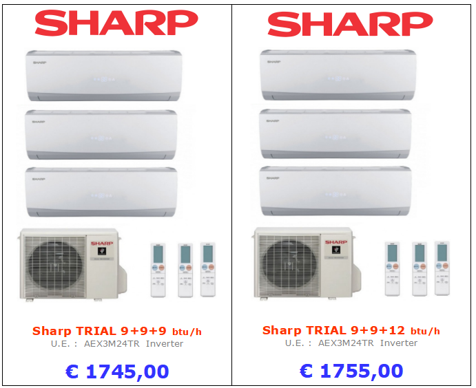 CLIMATIZZATORE Sharp TRIAL 9+9+9 btu Sharp TRIAL 9+9+12 btu www.mt-termoidraulica.it a roma