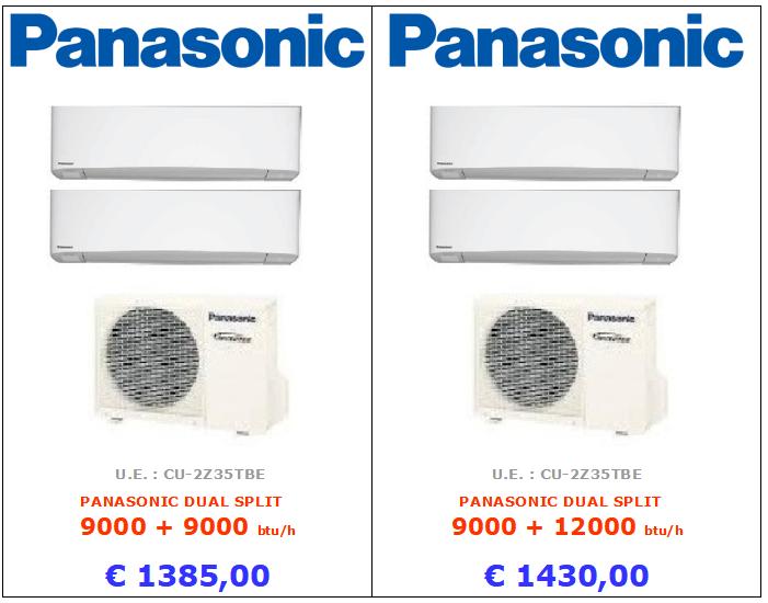 CLIMATIZZATORE panasonic PANASONIC DUAL SPLIT 9000 + 9000 btu PANASONIC DUAL SPLIT 9000 + 12000 btu www.mt-termoidraulica.it a roma