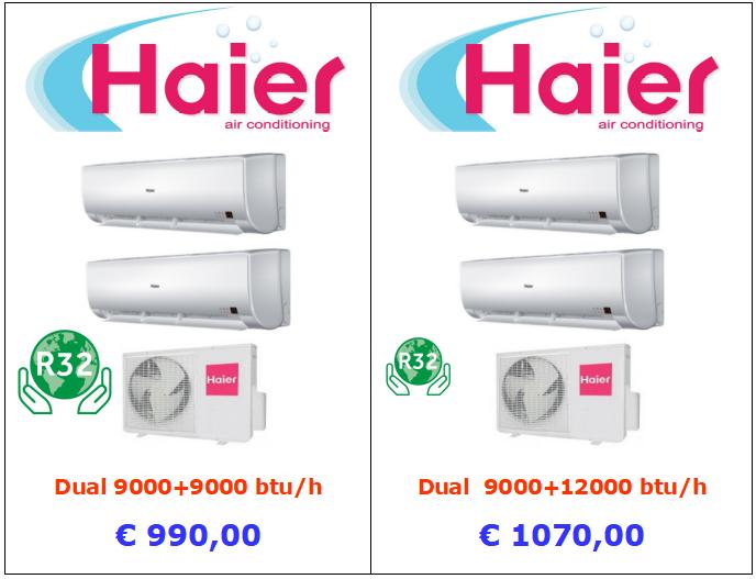 climatizzatore haier tundra dual 9000 + 9000 btu e 9000 + 12000 btu www.mt-termoidraulica.it a roma