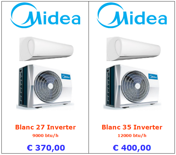 climatizzatori MIDEA BLANC a roma 9000 btu 12000 btu inverter www.mt-termoidraulica.it a roma