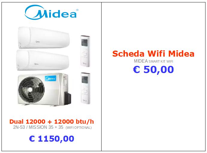 climatizzatori MIDEA DUAL SPLIT a roma 12000 btu + 12000 btu inverter www.mt-termoidraulica.it a roma
