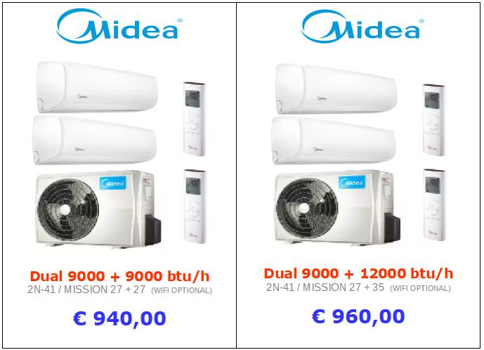 climatizzatori MIDEA DUAL SPLIT a roma 9000 btu + 9000 btu inverter www.mt-termoidraulica.it a roma