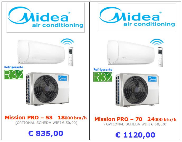 climatizzatori MIDEA MISSION PRO gas refrigerante R32 a roma 18000 btu 24000 btu inverter www.mt-termoidraulica.it a roma