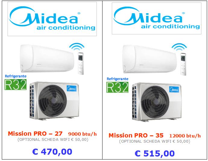 climatizzatori MIDEA MISSION PRO gas refrigerante R32 a roma 9000 btu 12000 btu inverter www.mt-termoidraulica.it a roma