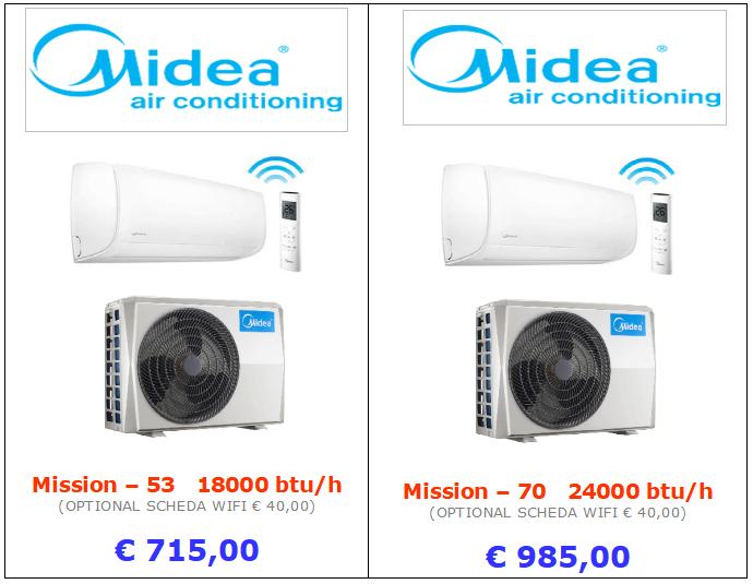 climatizzatori MIDEA MISSION a roma 18000 btu 24000 btu inverter www.mt-termoidraulica.it a roma
