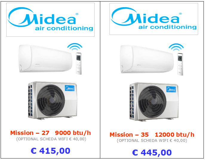 climatizzatori MIDEA MISSION a roma 9000 btu 12000 btu inverter www.mt-termoidraulica.it a roma
