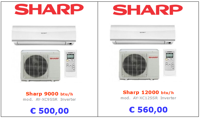 climatizzatori sharp a roma 9000 btu 12000 btu inverter www.mt-termoidraulica.it a roma