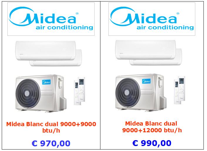 condizionatore midea blanc dual 9000 +9000 btu 9000 + 12000 btu vendita a roma