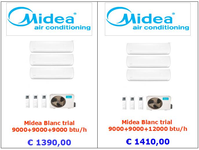 condizionatore midea blanc trial9000 + 9000 + 9000 btu 9000 + 9000 + 12000 btu vendita a roma