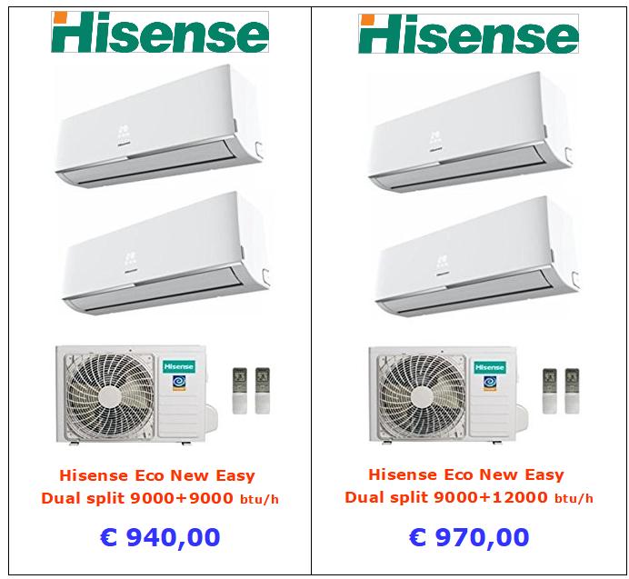 vendita condizionatore dual split hisense new easy 9000 + 9000 btu 9000 + 12000 btu a roma