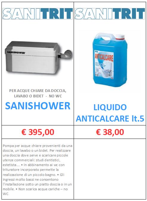 SANITRIT SANISHOWER LIQUIDO ANTICALCARE A ROMA MT-TERMOIDRAULICA