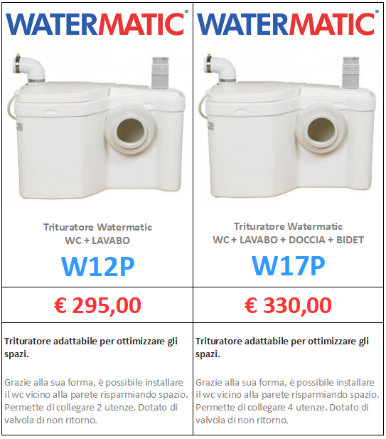 trituratore watermatic w12p w17p a roma www.mt-termoidraulica
