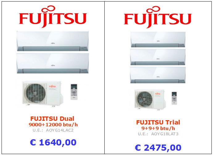 climatizzatore fujitsu 18000 btu + dual split 9000 + 9000 + trial split9+9+9 btu www.mt-termoidraulica.it a roma