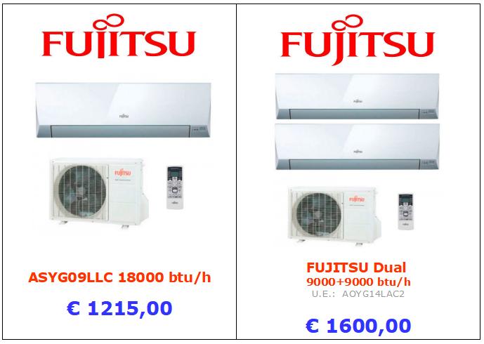 climatizzatore fujitsu 18000 btu + dula split 9000 + 9000 btu www.mt-termoidraulica.it a roma