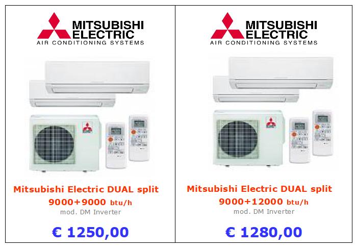 Mitsubishi Electric DUAL split 9000+9000 btu mod. DM Inverter a roma
