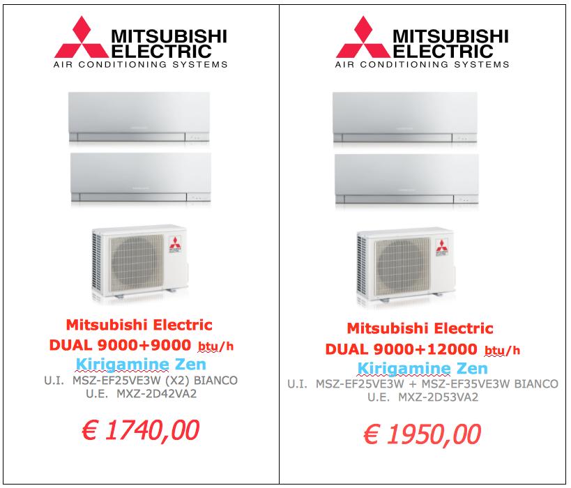 Mitsubishi Electric serie KIRIGAMINE BIANCO DUAL 9000 btu + 9000 btu www.mt-termoidraulica.it a roma