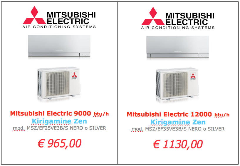 Mitsubishi Electric serie KIRIGAMINE NERO O SILVER 9000 btu 12000 btu www.mt-termoidraulica.it a roma