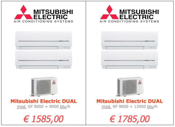 Mitsubishi Electric serie SF DUAL 9000 btu + 12000 btu www.mt-termoidraulica.it a roma