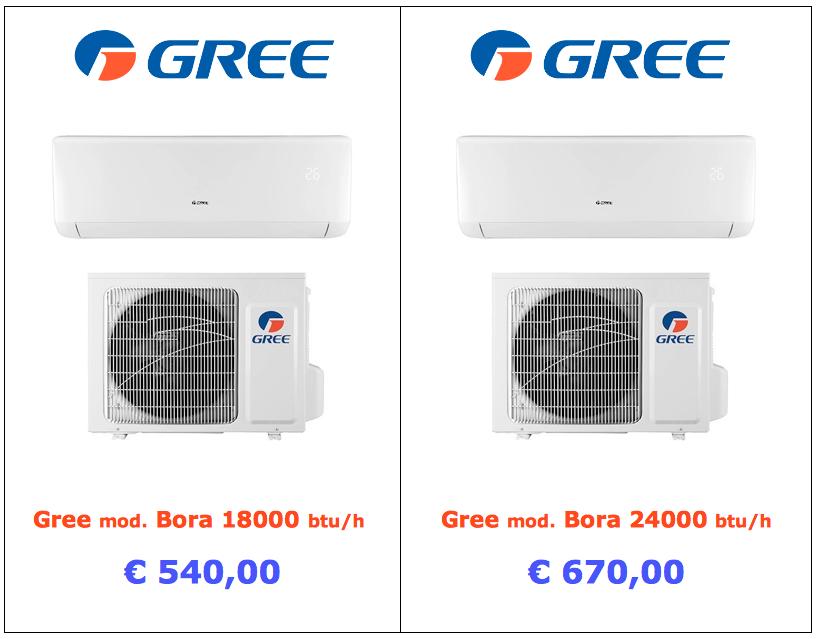 climatizzatore Gree modello Bora 18000 btu 24000 btu vendita www.mt-termoidraulica.it a roma