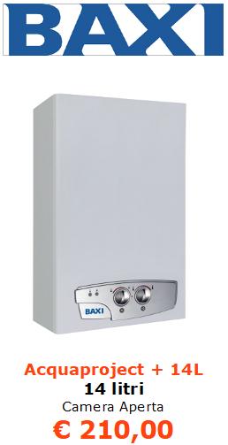 scaldabagno a gas baxi Acquaproject + 14 litri a camera aperta vendita a roma