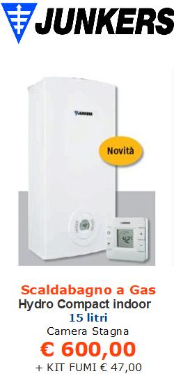 scaldabagno a gas junkers bosch hydro compact indoor 15 litri vendita a roma