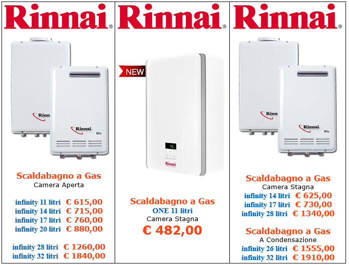 scaldabagni a gas rinnai vendita a roma