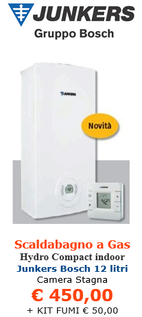 scaldabagno a gas junkers bosch therm 5600 12 litri indoor a roma