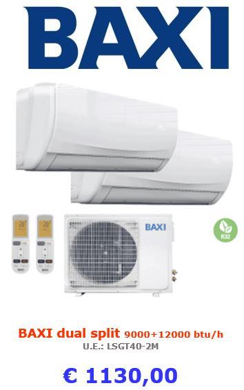 climatizzatore baxi dual split moonlight 9000+2000 btu a roma