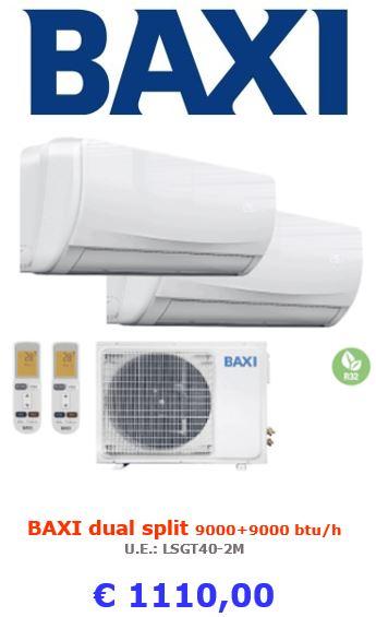 climatizzatore baxi dual split moonlight 9000+9000 btu a roma