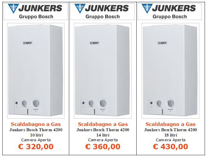 scaldabagno a gas Junkers Bosch Therm 4200 a roma