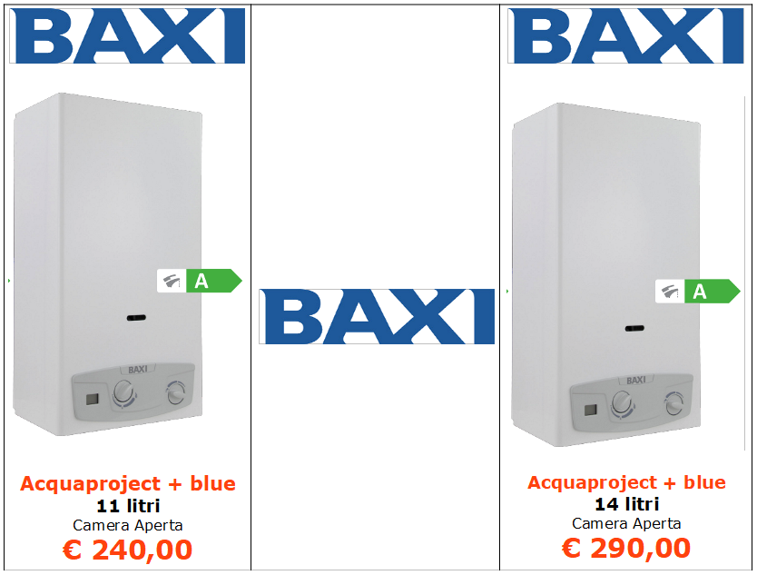 scaldabagno baxi acquaproject + blue camera aperta a roma
