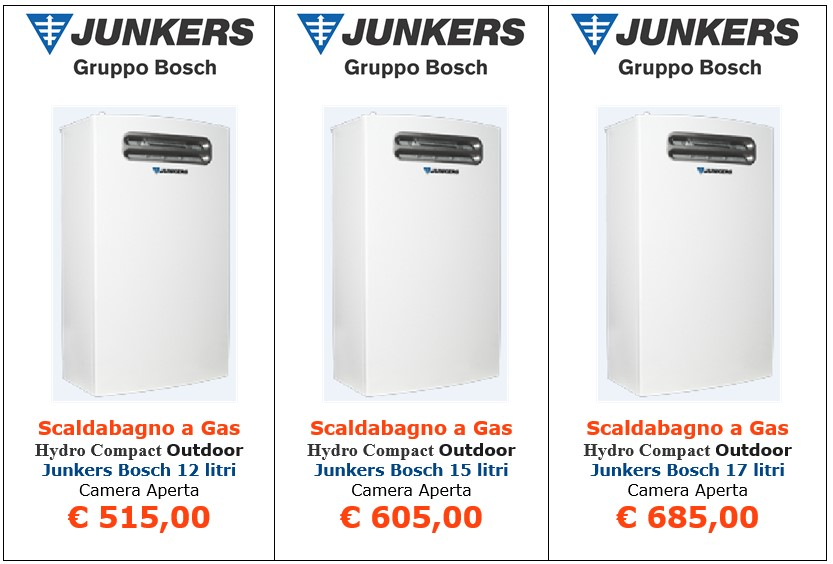 scaldabagno a gas junkers bosch hydro compact outdoor a roma